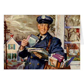 Vintage Business, Mailman Mail Delivering Letters Greeting Card