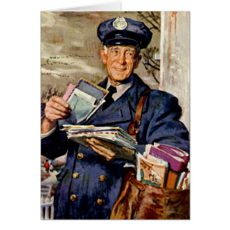 Vintage Business, Mailman Mail Delivering Letters Greeting Card