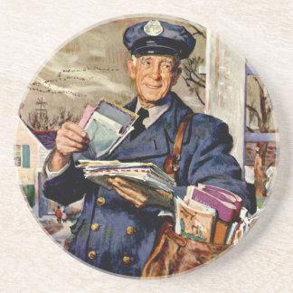 Vintage Business, Mailman Mail Delivering Letters Coasters