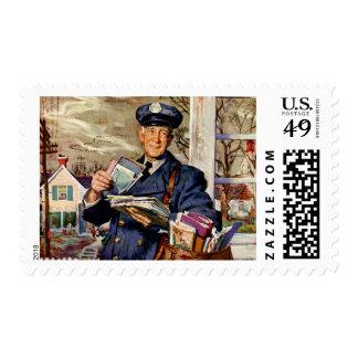 Vintage Business, Mailman Mail Delivering Letters Postage Stamp