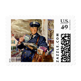 Vintage Business, Mailman Mail Delivering Letters Stamp