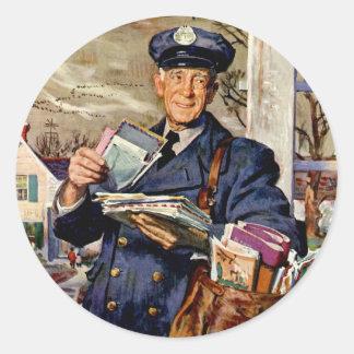 Vintage Business, Mailman Mail Delivering Letters Round Sticker