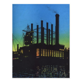 Vintage Business, Manufacturing Factory at Sunset Card