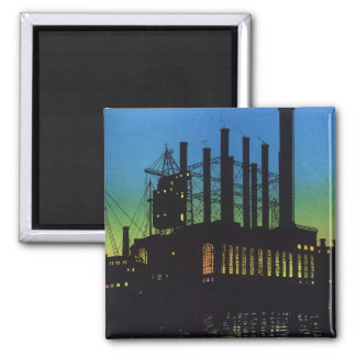 Vintage Business, Manufacturing Factory at Sunset 2 Inch Square Magnet