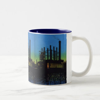 Vintage Business, Manufacturing Factory at Sunset Two-Tone Coffee Mug
