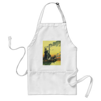 Vintage Business, Manufacturing Factory on a Dock Adult Apron