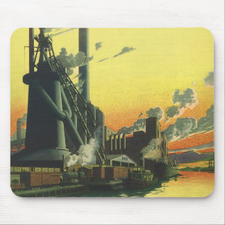 Vintage Business, Manufacturing Factory on a Dock Mouse Pad