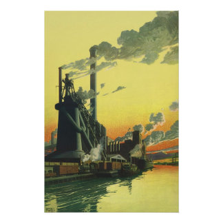 Vintage Business, Manufacturing Factory on a Dock Poster
