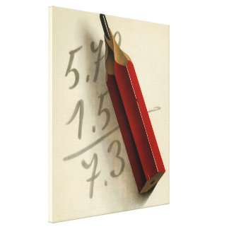 Vintage Business, Math Equation with Red Pencil Canvas Print