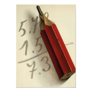 Vintage Business, Math Equation with Red Pencil Card