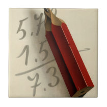 Vintage Business, Math Equation with Red Pencil Ceramic Tile