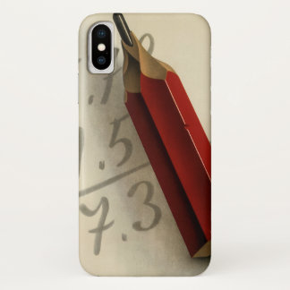 Vintage Business, Math Equation with Red Pencil iPhone X Case