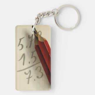 Vintage Business, Math Equation with Red Pencil Keychain