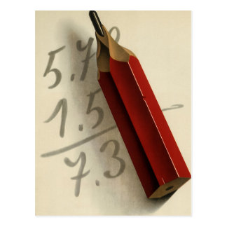 Vintage Business, Math Equation with Red Pencil Postcard