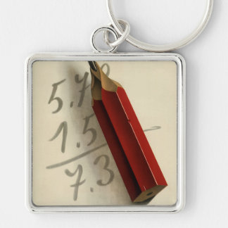 Vintage Business, Math Equation with Red Pencil Silver-Colored Square Keychain