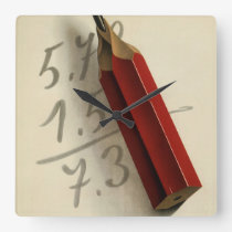Vintage Business, Math Equation with Red Pencil Square Wall Clock