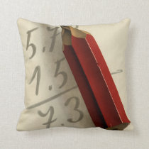 Vintage Business, Math Equation with Red Pencil Throw Pillow