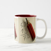 Vintage Business, Math Equation with Red Pencil Two-Tone Coffee Mug