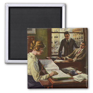 Vintage Business Meeting, Executives in Office 2 Inch Square Magnet