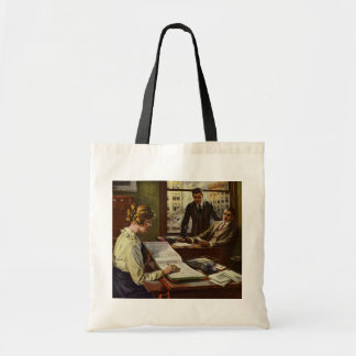 Vintage Business Meeting, Executives in Office Bags
