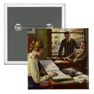 Vintage Business Meeting, Executives in Office Pin