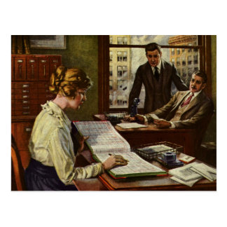 Vintage Business Meeting, Executives in Office Postcard