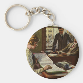 Vintage Business Meeting, Office with Executives Keychain
