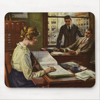 Vintage Business Meeting, Office with Executives Mouse Pad