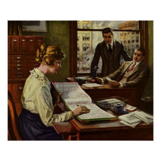 Vintage Business Meeting, Office with Executives Poster