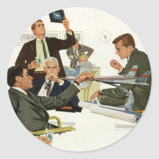 Vintage Business, Meeting with Airline Executives Classic Round Sticker