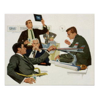 Vintage Business, Meeting with Airline Executives Poster