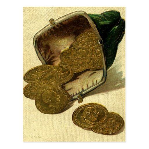 Vintage Business Money Currency, Gold Coins Purse Postcard