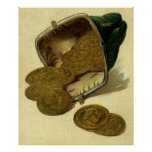Vintage Business Money Currency, Gold Coins Purse Posters