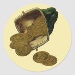 Vintage Business Money Currency, Gold Coins Purse Round Stickers