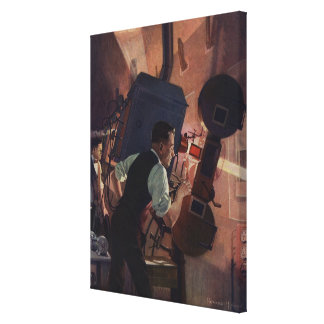 Vintage Business, Movie Theater Projectionist Canvas Print