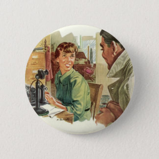 Vintage Business Office, CEO Boss and Secretary Pinback Button