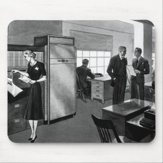 Vintage Business, Office Scene with Executives Mouse Pad