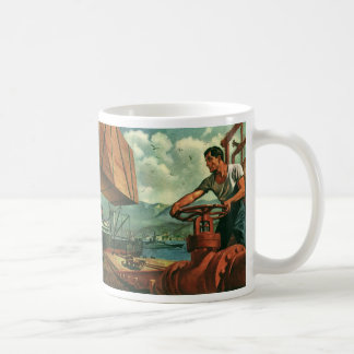 Vintage Business, Oil Tanker Ship with Dock Worker Coffee Mug