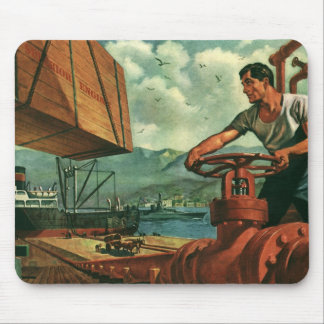 Vintage Business, Oil Tanker Ship with Dock Worker Mouse Pad