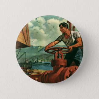 Vintage Business, Oil Tanker Ship with Dock Worker Pinback Button