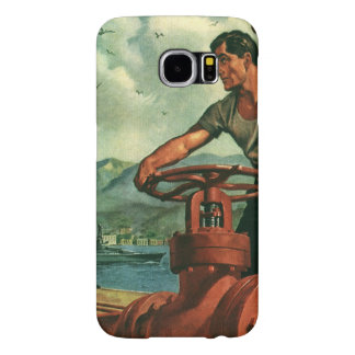 Vintage Business, Oil Tanker Ship with Dock Worker Samsung Galaxy S6 Case