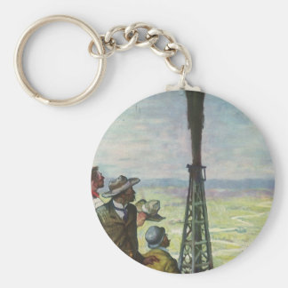 Vintage Business, Oil Well Gushing with Workers Keychain