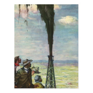 Vintage Business Oil Well Gushing with Workers Postcard