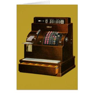 Vintage Business, Old Fashioned Cash Register Greeting Card