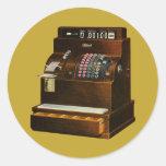 Vintage Business, Old Fashioned Cash Register Classic Round Sticker