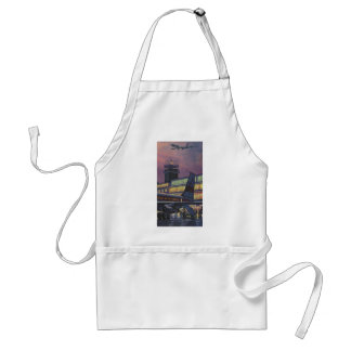 Vintage Business Passengers on Airplane at Airport Adult Apron