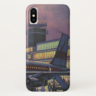 Vintage Business Passengers on Airplane at Airport iPhone X Case