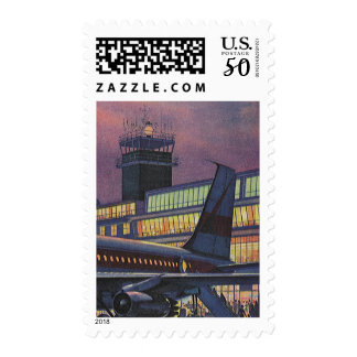 Vintage Business Passengers on Airplane at Airport Postage
