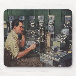 Vintage Business, Pay Phone Telephone Repairman Mouse Pad