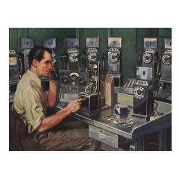 Vintage Business, Pay Phone Telephone Repairman Postcard